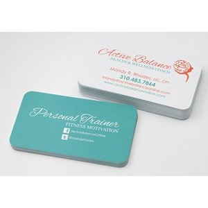 Round Corner 16 Point UV Business Card w/ UV Front & Uncoated Back