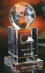 Custom Optical Crystal Globe Award On Cube Base