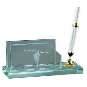 Jade Glass Business Card Holder w/ Pen Set