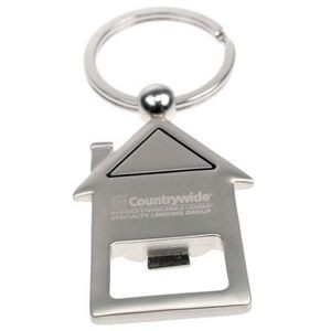Metal House Keychain w/ Bottle Opener
