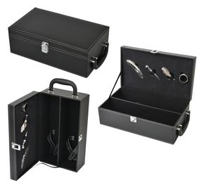 4PCS Wine set in a black leatherette case with 2 bottle support