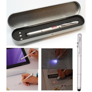 Metal Pen w/Stylus/Laser/LED in Box w/Extra Battery
