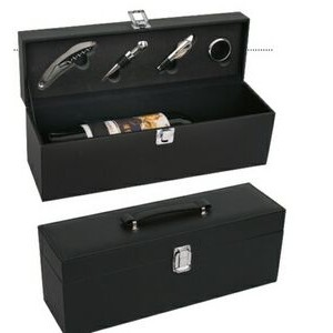 Hand Carry Leatherette Wine Case w/ 4 PC Opener Set