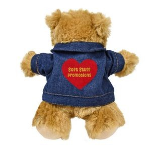 "8.5"" Standing Bailee Bear w/Jean Jacket with heat transfer"