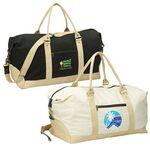 Custom Eco Natural Cotton Canvas Duffel w/ Detachable Shoulder Strap