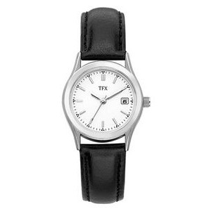 Bulova TFX Collection Ladies' Stainless Steel Watch w/ Black Leather Strap