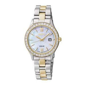 Seiko Women's Solar Mother of Pearl Dial Two-Tone Watch