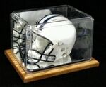 Custom Blank Display Case For Mini Football Helmet w/Wood Base