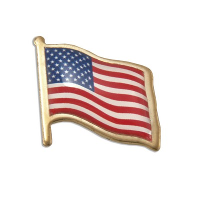 American Flag Domed Polished Brass Lapel Pin