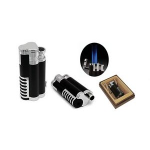 The Cyclone Triple Flame Torch Lighter w/ Retractable Bullet Cutter in Gift Box