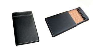 Custom 6 Cigar Leather Humidor Case with Cigar Bed & Humidifier