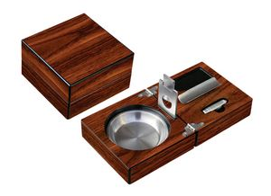 Custom High Gloss Walnut Folding Ashtray Set with Accessories