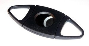Custom Double Bladed Black Guillotine Style Cigar Cutter