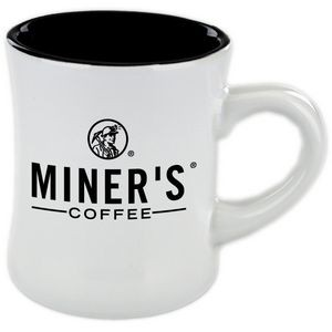 11 Oz. Diner Mug Black in white out