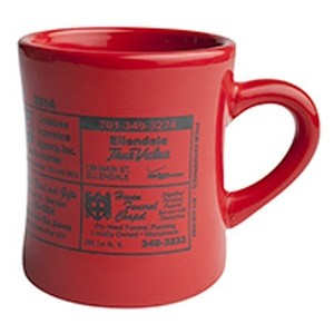 10 Oz. Vitrified Cancun Diner Mug (Red)