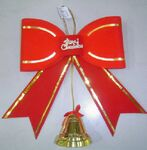 Custom Red/ Gold Christmas Bow w/Bell Dangle (12*12Cm)