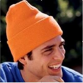 Orange Knit Ski Hat w/ Wide Cuff