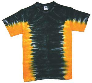 Custom Black/Gold Team Side Stripe Short Sleeve T-Shirt