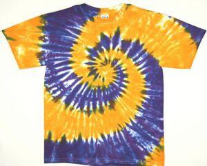 Custom Gold/Purple Team Spiral Short Sleeve T-Shirt