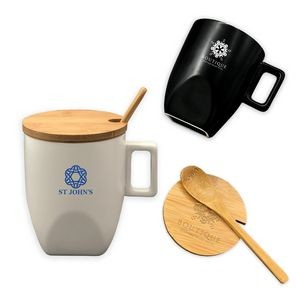 Ceramic Mug with Bamboo Lid and Spoon