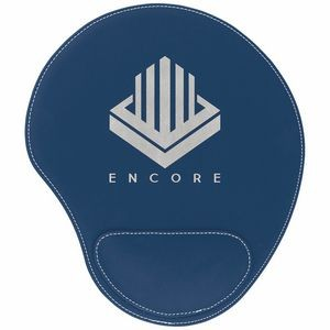 Blue/Silver Leatherette Mouse Pad