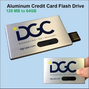 Aluminum Credit Card Flash Drive - 512 MB Memory