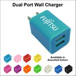 Custom Dual USB 2 Port Wall Charger - Light Blue