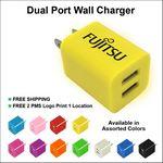 Custom Dual USB 2 Port Wall Charger - Yellow
