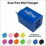 Custom Dual USB 2 Port Wall Charger - Dark Blue
