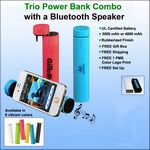 Custom Trio 3 in 1 Power Bank with Speaker - 3000 mAh
