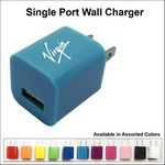 Custom Single Port USB Wall Charger - Light Blue