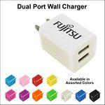 Custom Dual USB 2 Port Wall Charger - White