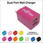 Custom Dual USB 2 Port Wall Charger Magenta