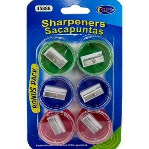 Pencil Sharpeners - 6 Pack Assorted Colors