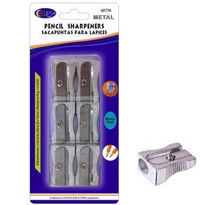 Metal Pencil Sharpeners - 6/Pack