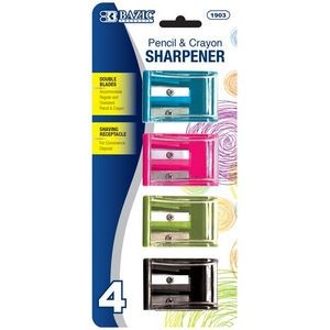 BAZIC Dual Blades Square Sharpener w/ Receptacle (4/Pack)