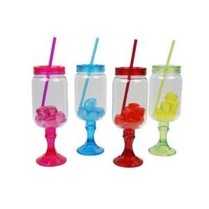 26oz Plastic Mason Jar with Straw and Ice - Assorted