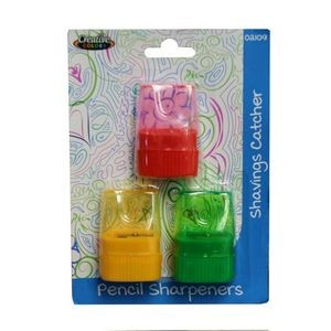 3-Pack Pencil Sharpener with Shavings Catcher