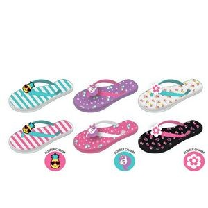 Girls' Rubber Charm Printed Flip Flop - Assorted
