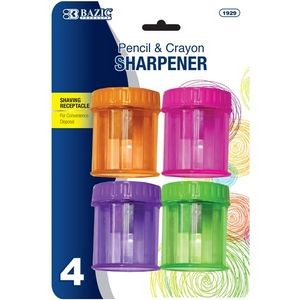 BAZIC Single Hole Sharpener w/ Round Receptacle (4/pack)