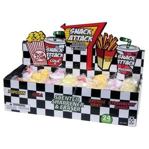 Snack Attack Scented Pencil Sharpener and Eraser