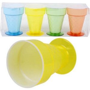 Colored Plastic Ice Cream Cup 4-Pack