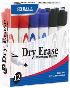 Custom BAZIC Assorted Color Chisel Tip Dry-Erase Markers (12/Box)