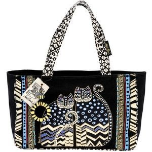 Medium Tote w/Zipper Top: Spotted Cats