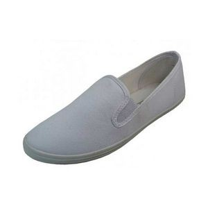 Women's White Color Slip on Canvas Shoes (Size 5-10)