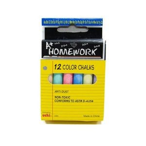 Bulk Assorted Colored Chalk - 3Sticks - 12 Pack Boxed (Case of 96)