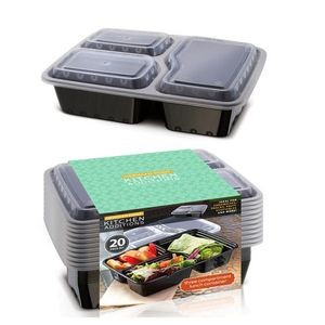 Three Compartment Food Containers - 10-Packs (Case of 12)