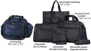 Custom Navy 18 Multipocket Carry On Bag with Detachable Bags