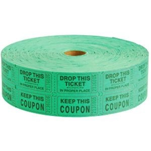 Double Roll Carnival Tickets Green - 2000/Roll
