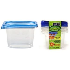 15 oz. Rectangular Tab Lid Storage Container 5-Packs - Nicole Home Col